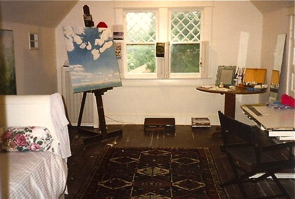 The attic studio.  I loved looking down from the window.