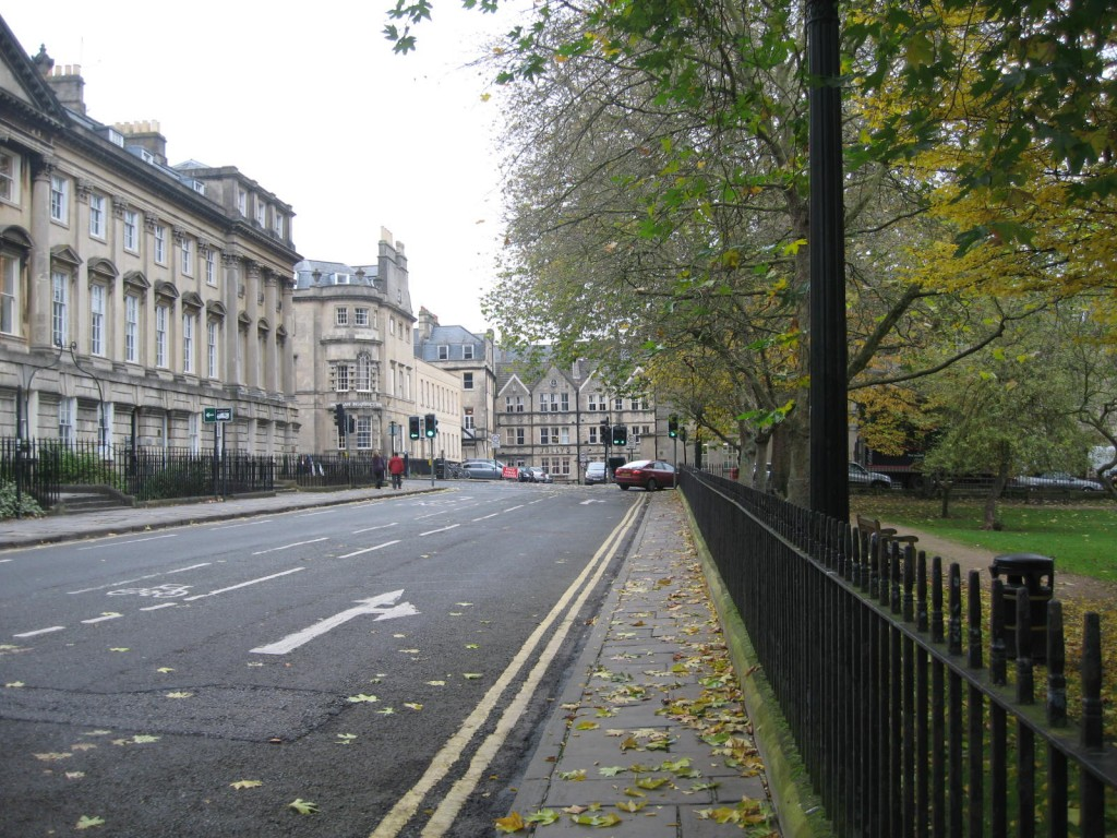 Queen's Square, the last bit of city before the park begins. Photo by me