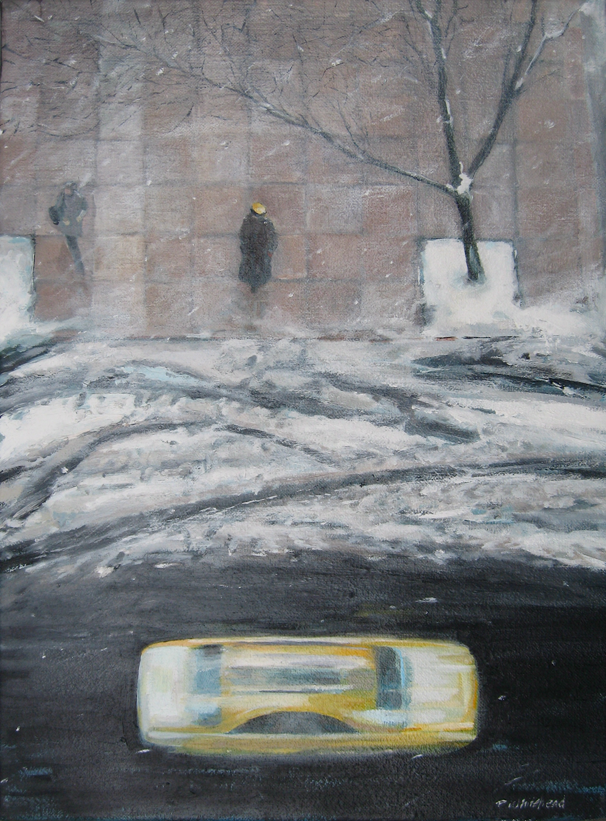 NYC:Taxi (winter), painting by me
