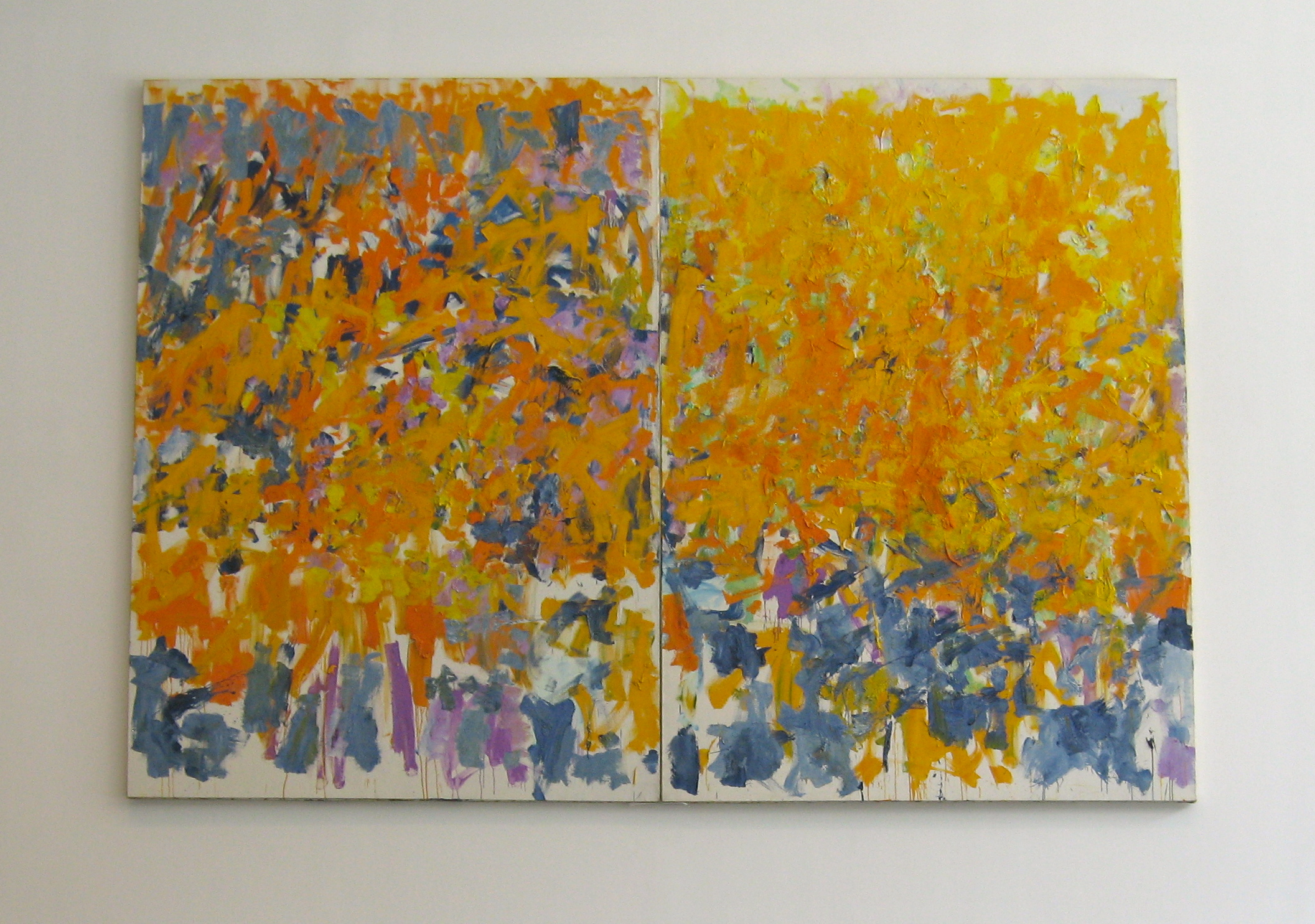 "Joan Mitchell's Wood, Wind, No Tuba. 2 panels 9'2 1/4"" x 13 1 1/8"".  Brilliant!"