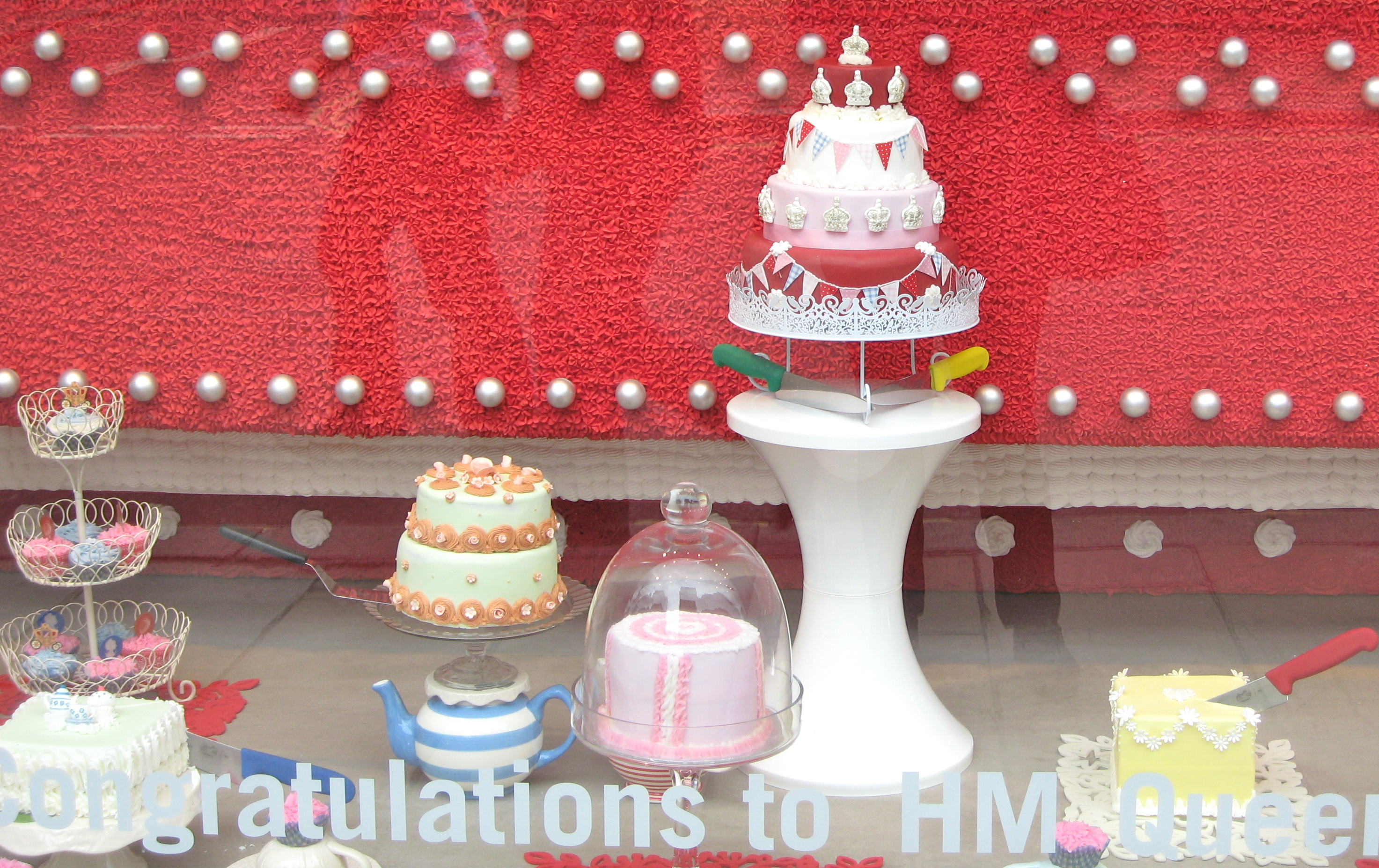A London shop window during jubilee. Twee? I think so.  Photo by me.