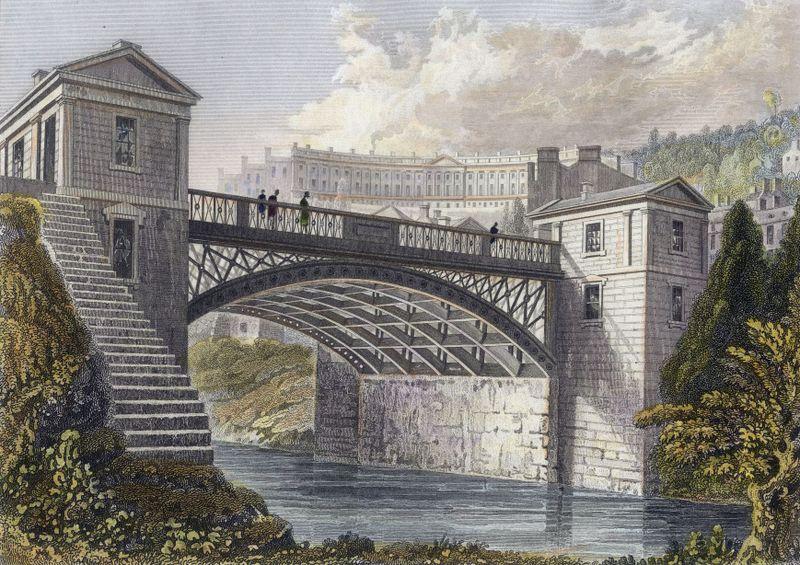The New Bridge at Bathwick, Bath, England. 1830 engraving by FP Hay, hand watercoloured on print