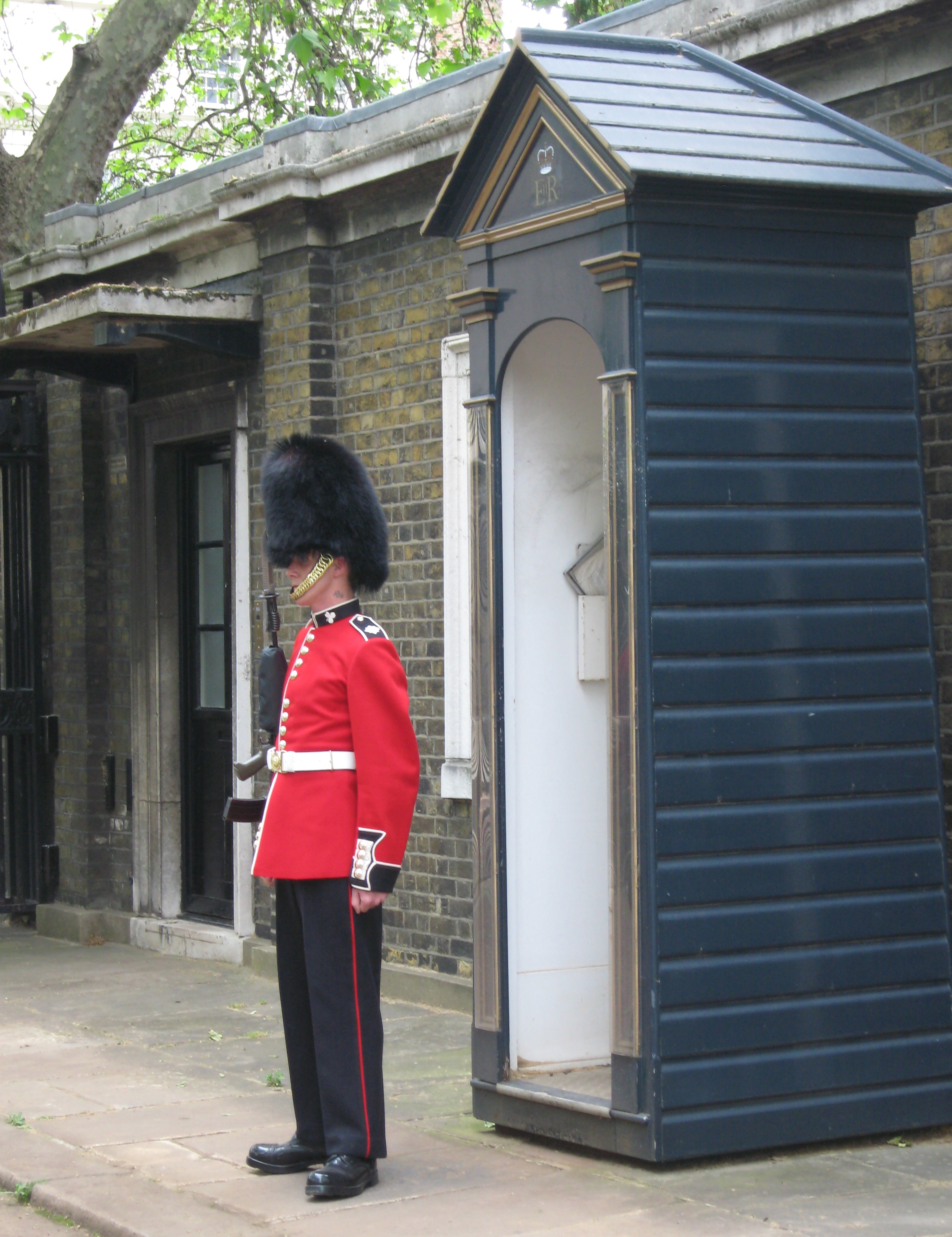 Standing Guard outside of Clarence House. Photo by me.
