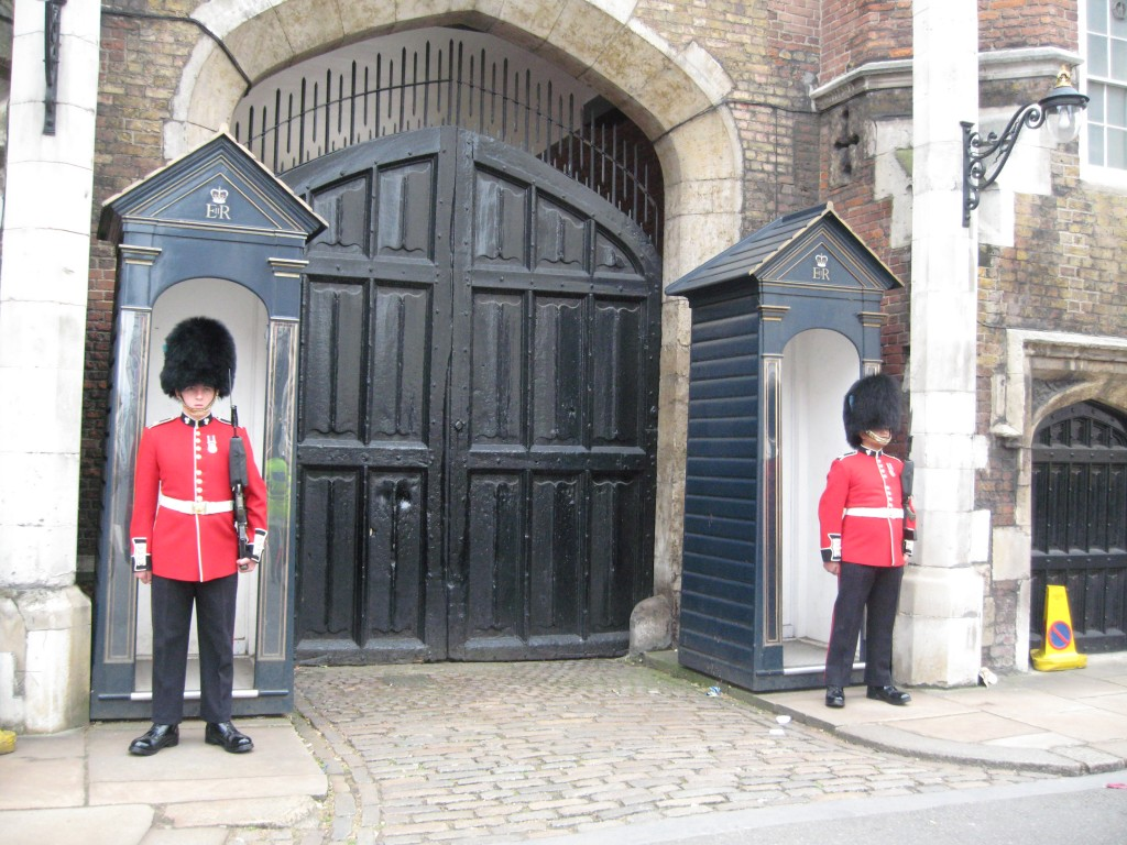 Guarding St. James's Palace. Photo by me.
