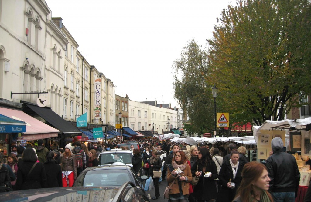 Sunday afternoon on Portobello Road at the market. Photo by me.