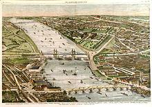 Vauxhall Bridge, Victoria (now Chelsea) Bridge and Battersea Bridge, London 1859