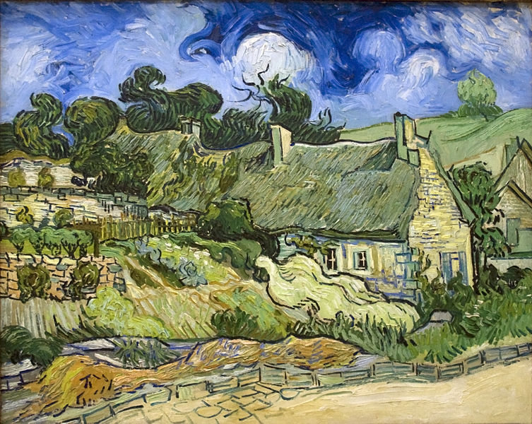 "Thatched cottages were popular throughout Europe, although England still has the most. ""Thatched Cottage at Cordeville"" Vincent Van Gogh"