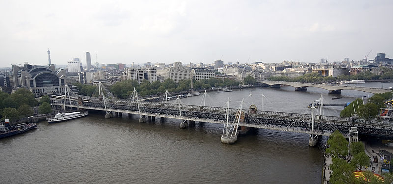 Hungerford Bridge from the London Eye. Creative Commons