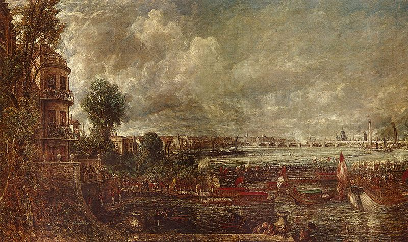 John Constable, View of the old Waterloo Bridge from Whitehall stairs, 1817.