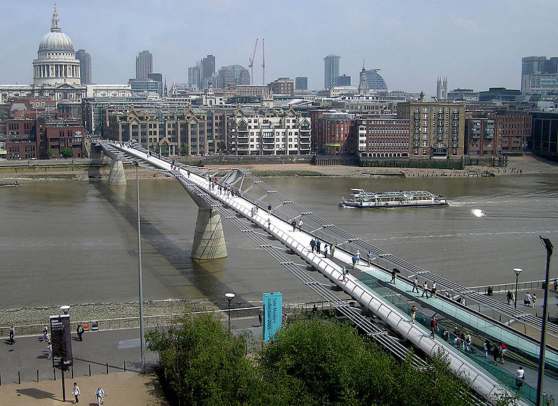 The Millennium Bridge from the Tate Modern. Wikimedia Commons