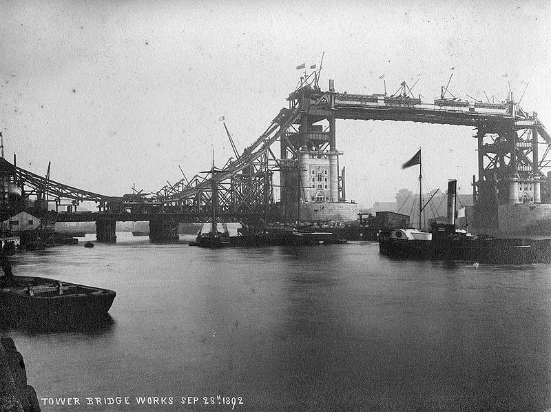View of Tower Bridge construction works, September 28th, 1892. Photo is in public domain.