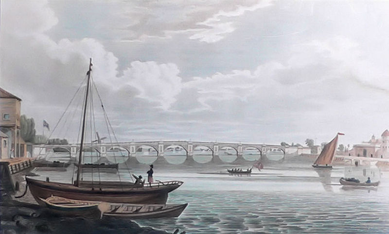 A view of James Walker's Regent's Bridge of 1816. Artist Unknown.