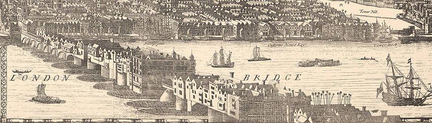 Drawing of London Bridge from 1682 London Map.