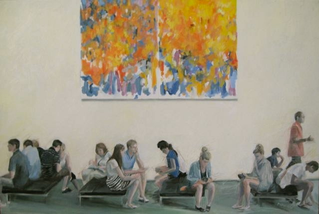 """Another painting in my """"Cities"""" series that focuses on MOMA museum visitors."""