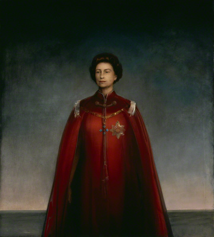 Queen Elizabeth II by Pietro Annigoni, tempera grassa on paper panel, 1969, 78 x 70 inches, © National Portrait Gallery, London