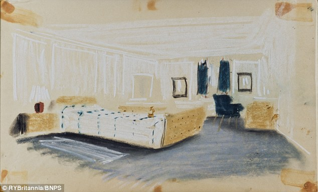 From the Daily Mail article, the original rendering of the Duke of Edinburgh's stateroom on the Royal Yacht Britannia.