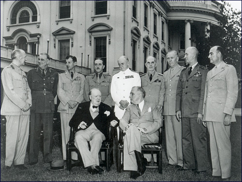 Prime Minister Winston Churchill along with Roosevelt's Joint Chiefs of Staff outside The White House May 24, 1943. Franklin D. Roosevelt Presidential Library