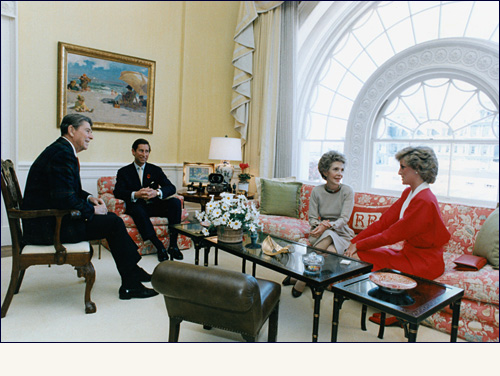 President Ronald Reagan and First Lady Nancy Reagan chat with Prince Charles and Princess Diana in the East sitting Hall, November 9, 1985. Ronald W. Reagan Presidential Library