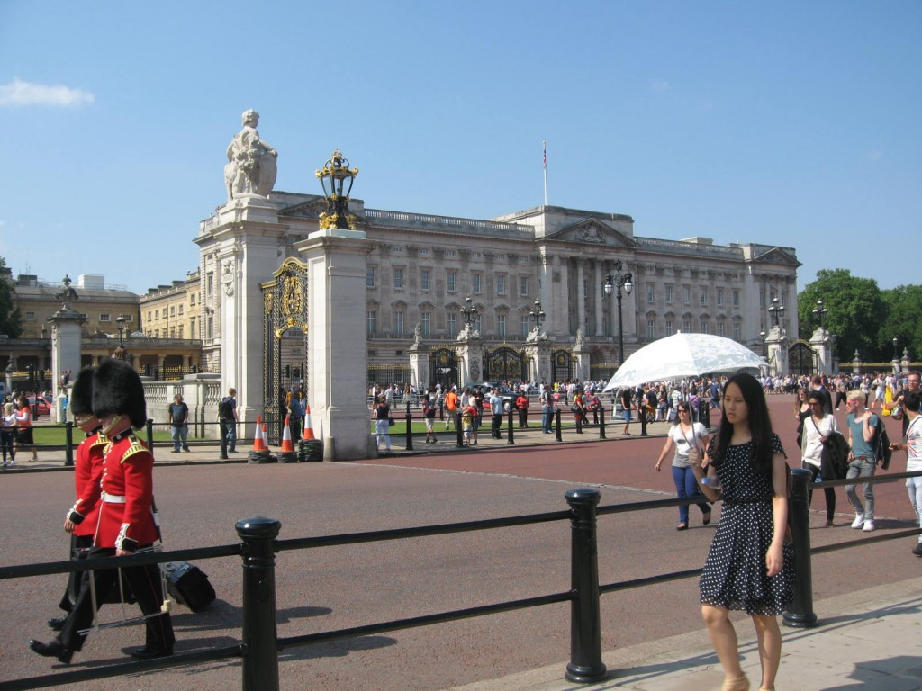 Many others had the same idea of going down to The Mall in front of Buckingham Palace.