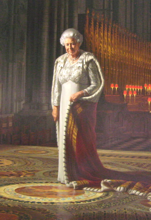 Detail.  The Queen is standing in the Abbey on the spot where she was crowned in 1953. Photo by me.