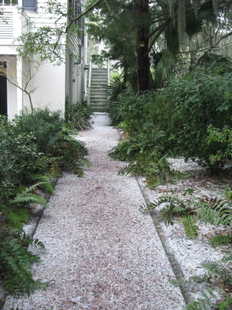 The path from my house to my studio covered in icy pellets.