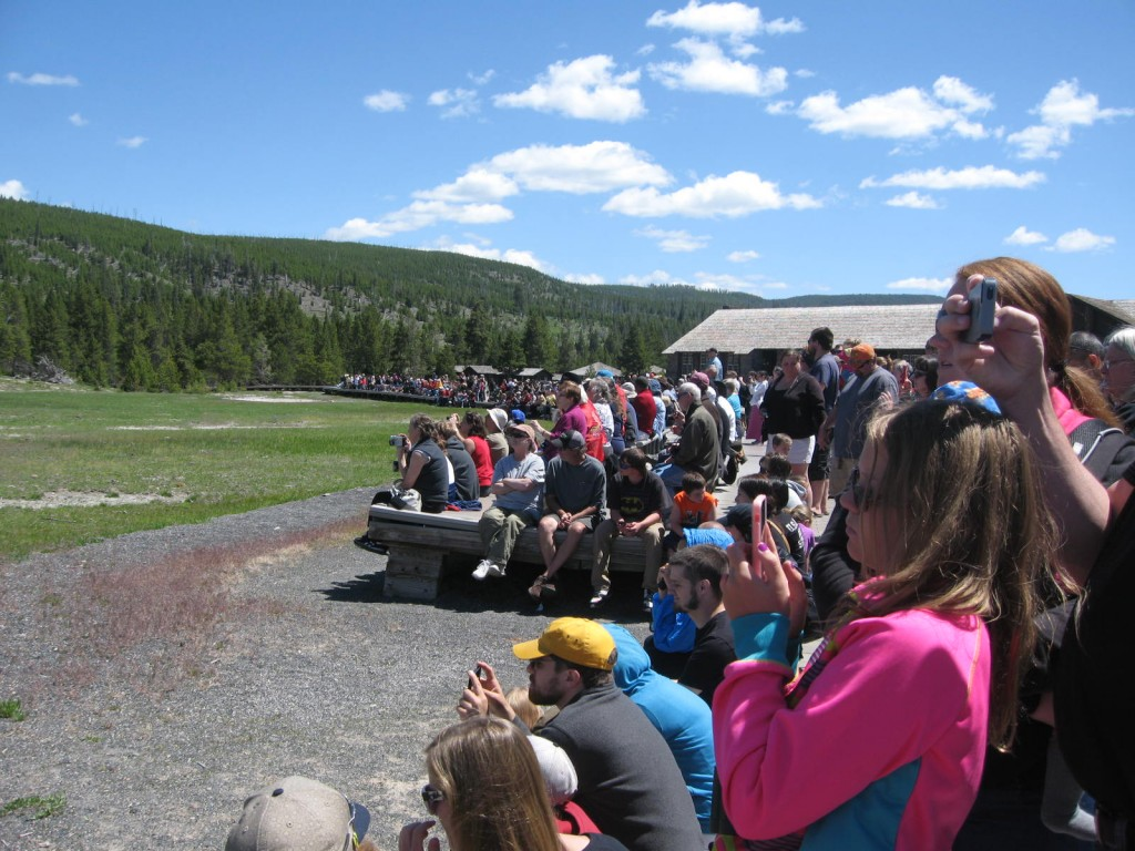 We were two among many waiting for Old Faithful to erupt in Yellowstone